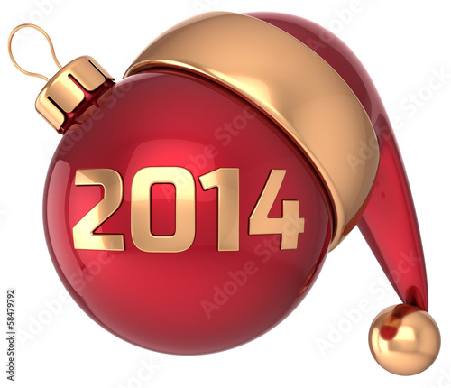 Christmas ball 2014 New Year bauble red gold decoration