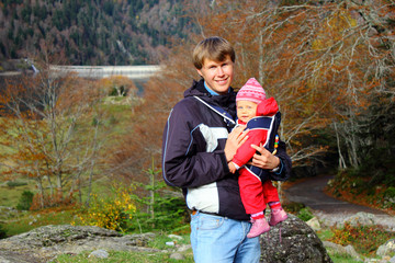 Father and Baby in Pyrenees mountains