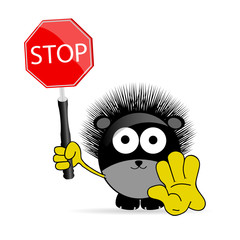 sweet and cute hedgehog with sign stop vector