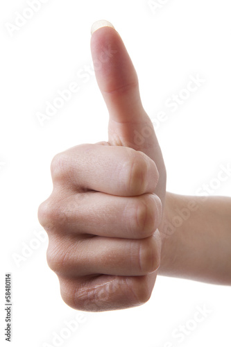 Hand with thumb up over white background