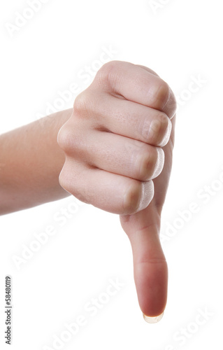 Hand with thumb down over white background