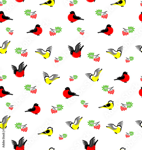 Vector seamless pattern with bullfinches, tites and rowanberries