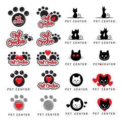 Cat And Dog Icons Set - Isolated On White Background