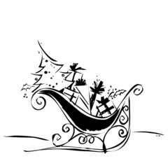 Schlitten Rentier Weihnachten Silhouette Vektor