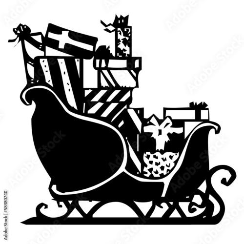 schlitten rentier weihnachten silhouette vektor stock. Black Bedroom Furniture Sets. Home Design Ideas