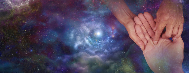 Palmistry website header on night sky, soft blur
