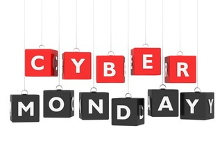 Cyber Monday - red and black cubes hanging