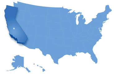 Map of United States with states where California is pulled-out