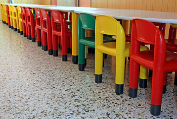 line of colored plastic chairs in the refectory of the nursery