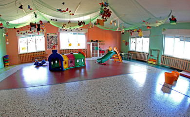 spacious lounge important nursery center with many Christmas orn