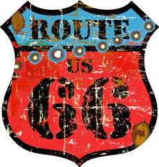 retro route 66 sign, w. bulletholes (removeable), vector