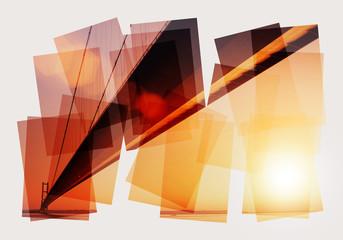 sunset bridge collage