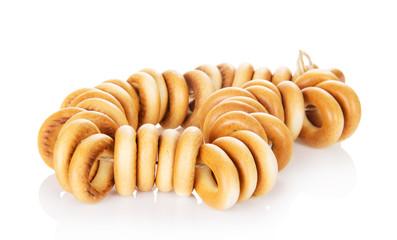 Tasty bagels on rope