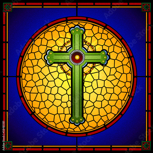 Obraz na Plexi stained glass christian cross square panel
