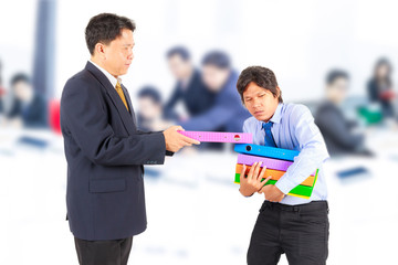 business man giving jobs to worker