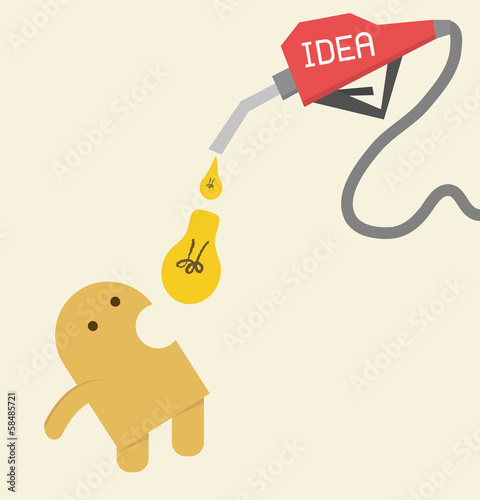 Idea, Eat light bulb to be more creative, intelligence or energy