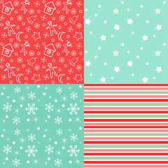 Collection for scrapbook. Red-green seamless.