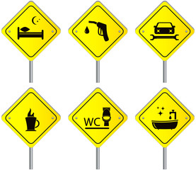 yellow set traffic road signs with services for travel and car