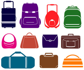 colorful vector set with isolated bag icons