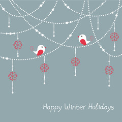 Winter holidays card with birds and Christmas decorations