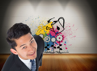 Composite image of smiling asian businessman