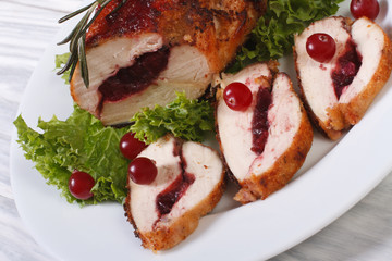 Festive food. Gently meat with cranberries and rosemary