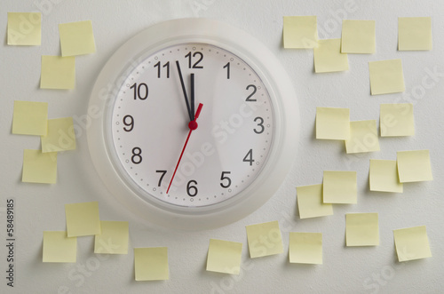 Wall clock surrounded by notes