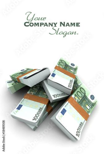100 Euros stacks