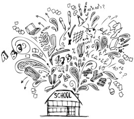 School building with doodles about education