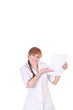 Young woman doctor is holding blank paper.