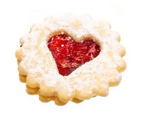 Keks: Spitzbube mit rotem Herz diagonal