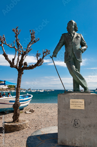 Salvador Dali statue in cadaques beach