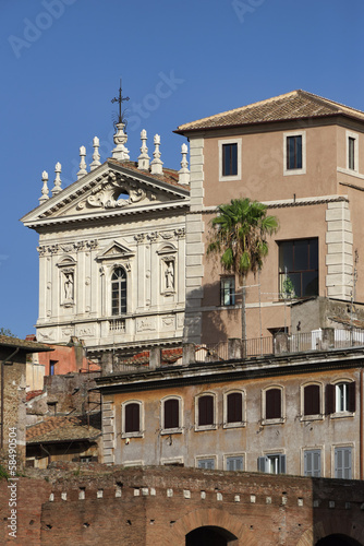 Italy, Rome, Roman church facade and old buildings.