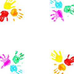 Hand prints of child isolated on a white