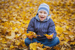 happy kid on a background of  autumn leafs