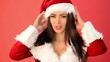 Cute and Sexy Girl in Santa Claus Costume Sending Sweet Kisses