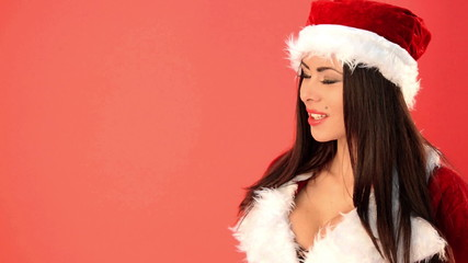 Adorable Woman in Santa Claus Costume Looking Her Right