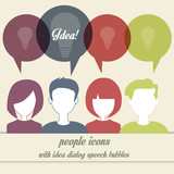 people icons with dialog idea speech bubbles