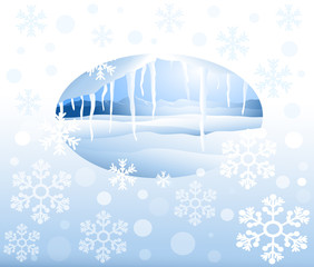 Winter landscape & Christmas Greetings - Vector Illustration