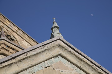 Mtsketha Svetitskhoveli Cathedral top roof and moon
