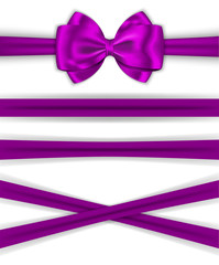 Violet ribbons with luxurious bow for decorating gifts and cards