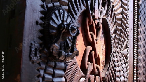 Chinese ornamented wooden door