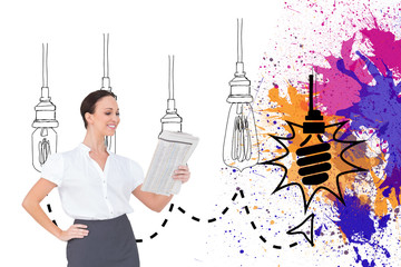 Composite image of cheerful stylish businesswoman holding newspa