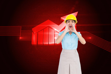 Composite image of attractive architect shouting at camera