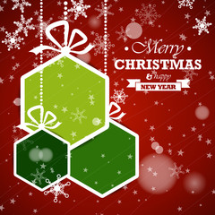 green hexagonal christmas balls