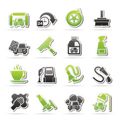 car wash objects and icons - vector icon set