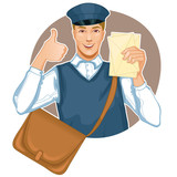 Young postman in a postman uniform with a letter and bag