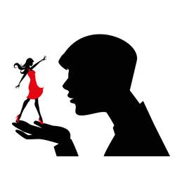 silhouette maschile con donna nelle sue mani