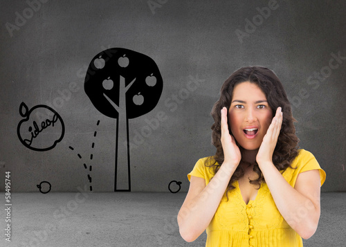 Composite image of disgusted casual young woman posing