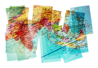 asia map collage